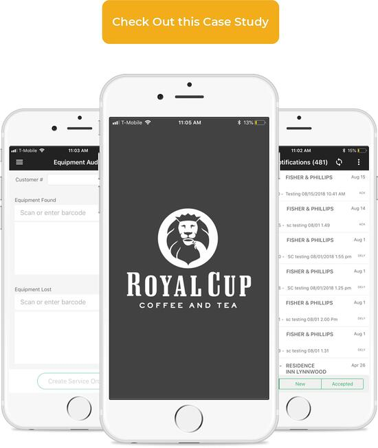 Screenshots of Royal Cups CNBS SAP Mobile Application